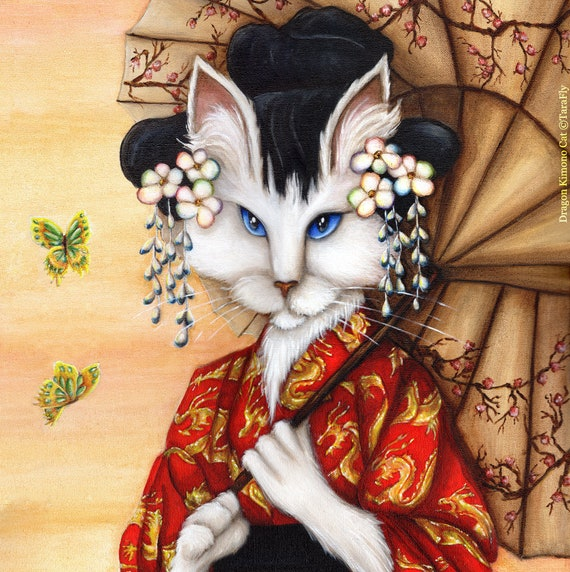 Cat Wearing Red Kimono 11x14 Fine Art Print