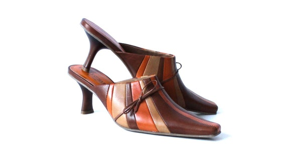 Striped Orange 5 Leather 6 Beige US 36 UK Heel EUR Shoes Summer 3 Shoes Kitten Mules Women Brown X5qZgg