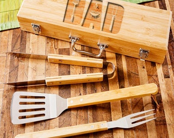 Personalized  BBQ Set - Laser Engraved - Gifts For Dad - Grill Set - Gift Ideas – Personalized Gift - Grilling