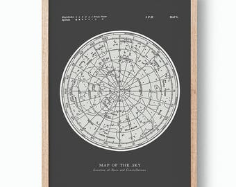 Star Map Constellations Poster. Map of the Sky. Modern Vintage Astronomy Print. Black Grey Celestial Map. Gallery Wall Art.