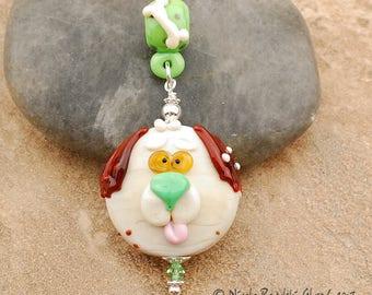 Doggy Big Hole Slider Pendant - Handmade Lampwork Glass Jewelry
