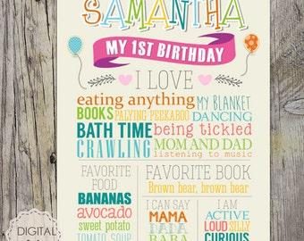 Baby girl First Birthday Chalkboard sign - Colorful 1st birthday chalk board poster - birthday party theme - DIGITAL FILE!