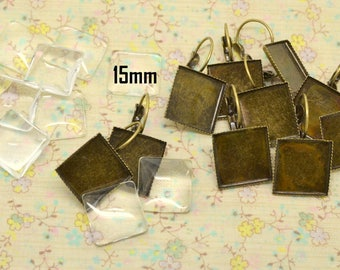 support base tray 10pcs earring sleeper square brass tone metal + glass 15 / 15mm