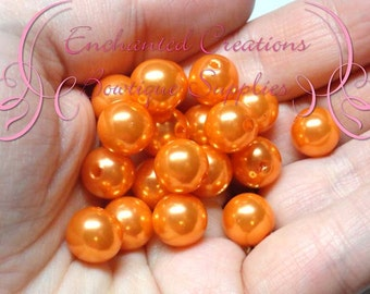 10mm Orange Acrylic Beads Qty 50, Shiny Coated, Bubblegum Beads, Gumball Beads, Chunky Bead, Sparkly Beads, Large Glitter Beads