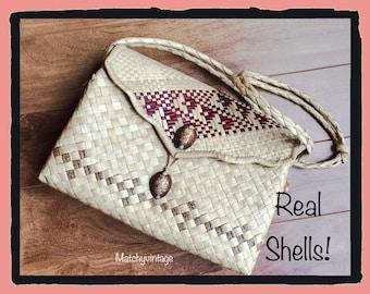 FREE SHIPPING | Vintage Straw Bag | Basket Handbag | Raffia Palm Purse