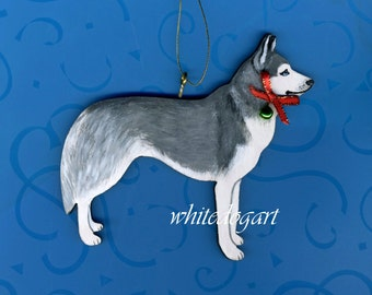 Handpainted Siberian Husky Christmas Ornament
