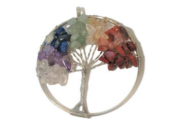 Tree of Life Pendant | Tree of Life Jewelry | Tree of Life Chakra | Quartz Chips | Wire Tree Necklace | Ready to Ship from US | SL230-1
