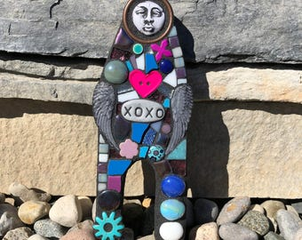 XOXO. (Handmade Mixed Media Original Art Doll Wall Hanging Scrap Assemblage Art Mosaic by Shawn DuBois)