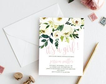 Winter White Floral Baby Shower Invitation - Printed or Printable - Baby Girl Shower - Winter White Baby Shower Invitation - Free Shipping
