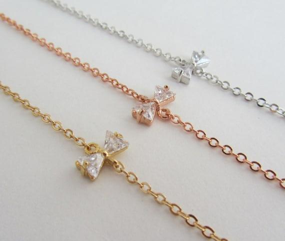 Bow Bracelets, Gold Bow Bracelet, Silver Bow Bracelet, Rose Gold Bow Bracelets, Gifts under 20