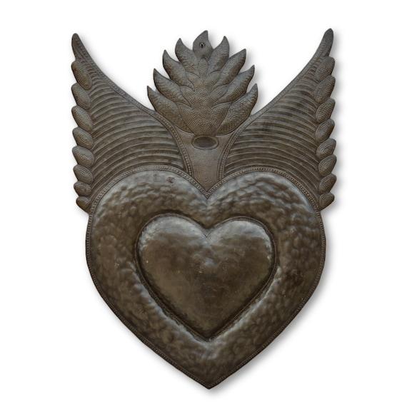 Flaming Milagro Heart, Handmade Quality Haitian Metal Art, Limited Edition 24.5 x 17