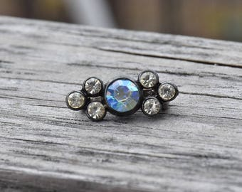 Tiny vintage pot metal and ab rhinestone scatter pin brooch, cute!