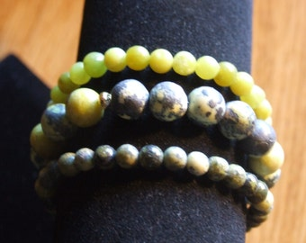Yellow turquoise and jade bracelets  0094SB