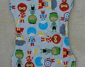 Super Kids on Grey with Grey Minky Contoured Burp Cloth,Baby, Drool,Burpees, Feeding