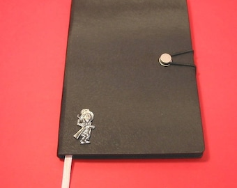 Mad Hatter Hand Cast Pewter Motif on A5 Black Journal Alice in Wonderland themed gift Christmas Gift Notebook