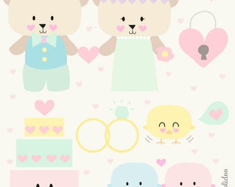 Kawaii Wedding Clip Art - Kawaii Clipart - Hand Drawn Digital Clipart - Cute Wedding Clipart - Cute Planning Clipart Set - Digital File