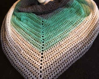 Green and Gray and White Triangle Scarf, Crocheted Lightweight Scarf,  Handmade Triangle Scarf, Multicolored Crocheted Shawl, Handmade Shawl