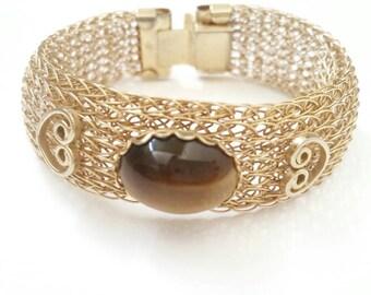 Tigers Eye Jewelry, Tigers Eye Bracelet, Tiger Eye Bracelet for Women, Gemini Birthstone, Cuff Bracelet, Vintage Bracelet, Tigers Eye Stone