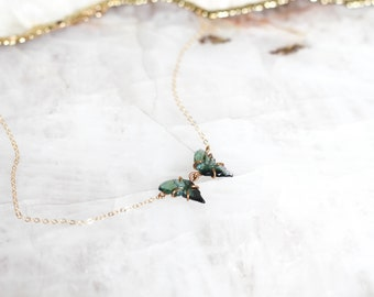 Green Bicolor Tourmaline Butterfly Necklace