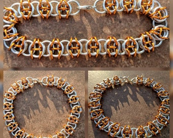 Celtic Visions Bright Silver and Orange Aluminum Chainmaille Bracelet