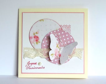 handmade birthday card woman lace, butterfly, romantic, shabby. Hand made
