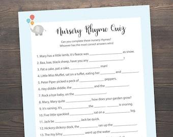 Elephant Nursery Rhyme Quiz, Baby Shower Games, Blue, Baby Boy Shower, Elephant Baby Shower, Printable Baby Shower, Nursery Games, S004