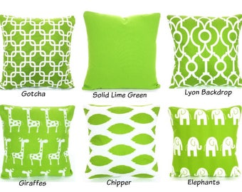 Green Pillow Covers, Decorative Throw Pillows, Cushion Covers, Green White Black Euro Sham Couch Bed Sofa, One or More ALL SIZES Mix & Match