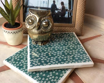 Tile Coasters | Set of 2 | Teal Triangles