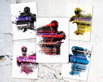 Power Rangers 5 posters, Power Rangers SET prints, Red, Pink, Black, Yelow and Blue Power Rangers prints, Watercolor Art illustration, B-035