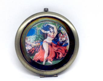 Vintage Belly Dancer Compact Double Sided Mirror
