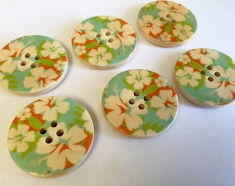 6 Large matching wood buttons, 30 mm in diameter, painted wood, natural flowers, mint background on natural wood