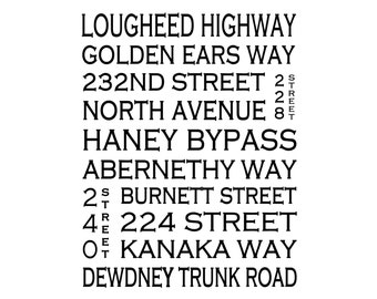 Maple Ridge B.C. - Love This Place Street Name Art Print on Paper - Customize With Your Street - Vancouver Home Decor TheJitterbugShop