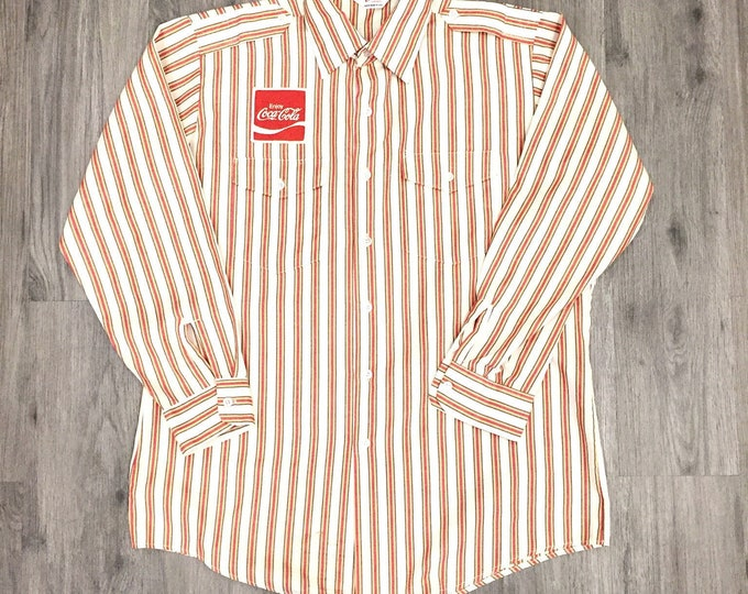 80s  Button Up Shirt with Lapels and a Coca Cola Patch