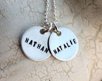 Sterling silver hand stamped necklace with two tags