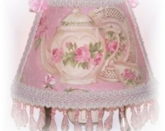 Teapot and Teacup Pink Cottage Roses Victorian Chic NIGHT LIGHT