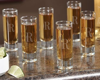 Tall Personalized Shot Glasses, Set of Six - Shot Glass Set Custom Engraved with Initial, Great for Housewarming Gift, Wedding, Graduation