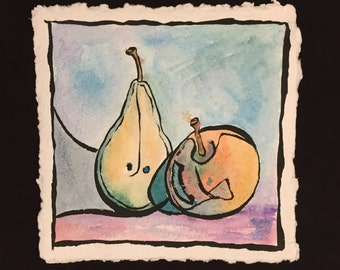 Pear watercolor painting | original still life painting | wall art | fine art | modern art | watercolor and ink | 8x8 inches