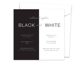 Black and White Party Invitation, Meet and Greet, Birthday Invitation, Work Function, Professional Event, Work Event, Corporate Event