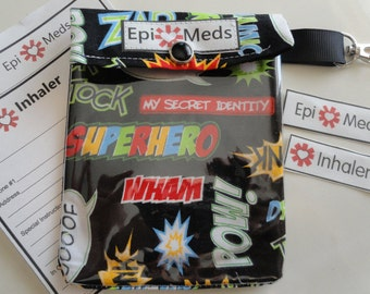 Epi / Inhaler Meds Pouch Easy to View Clear Front W/ Clip Holds Auvi Q Style Allergy Injectors or Puffer - 4x5 Superhero Words Fabric