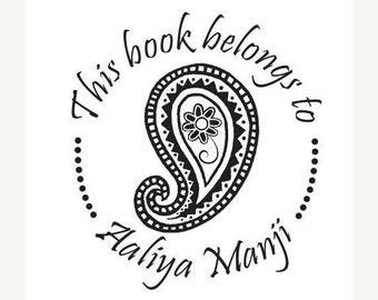 Mothers Day Sale Custom Bookplate Ex Libris Paisley Rubber Stamp C25