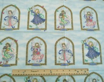 Panneau de tissu «Anges à côté de moi» de blocs de quatre anges gardien nommé sur marbré clair bleu #2591 - Ingrid pour le groupe Erlanger - POO