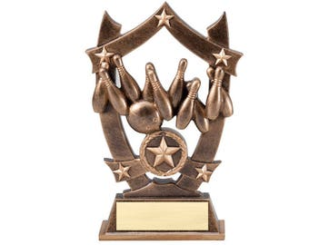 Bowling 3D Gold Sport Stars Award / Star Bowling Trophy (SSR04) by DECADE AWARDS