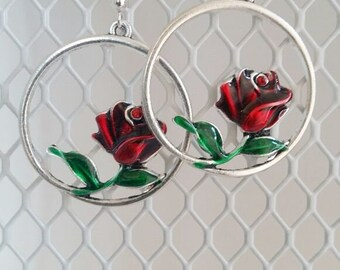 Enamel Rose Earrings ,Green and Red Earrings , Multi Color Earrings , Red Rose Earrings , Women Dangle Earrings , Solver Tone Earrings