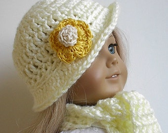 18 Inch Doll Clothes: Crocheted Hat with Brim and Scarf Set in Creamy Offwhite Handmade to fit the American Girl and Other 18 Inch Dolls
