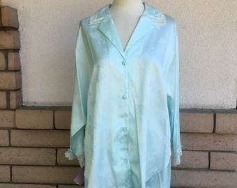 Vintage Lace Pajamas Jacquard Shirt & Pants Mint Green by Miss Elaine New w/Tags Size L-XL