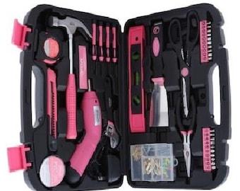 1 Brand New Ladies Womens Tool Set women's Tool Kit & Cordless Screwdriver Drill hammer scrapper tools home improvement Women's Pink tools
