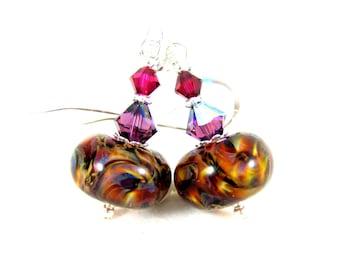 Boho Earrings, Beaded Dangle Earrings, Brown Ivory Purple Pink Glass Earrings, Colorful Earrings, Boro Lampwork Earrings, Bohemian Earrings