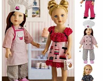 "Simplicity 8315, 18"" AG Doll Clothes Pattern, Chef Doll Clothes, Paris, Chef Hat & Coat, Apron, Top, Pants, Beret, Scarf, Skirt, New, UN-CUT"