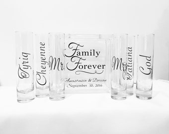 Family Blended Unity Sand Ceremony Glass Containers - Glass Block with Family Forever - Personalized - Side vessels Mr. Mrs.