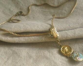 Antique ART Nouveau, Art Deco OOAK CHampleve Enamel Necklace, Watch Fob Necklace, Gift for Her